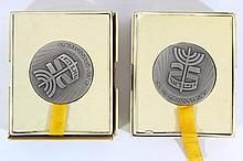 Lot of two silver medals by the Israel Coins and Medals Corp.