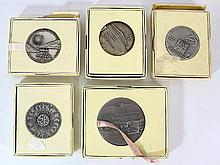 Lot of five sterling silver medals by the Israel Coins and Medals Corp
