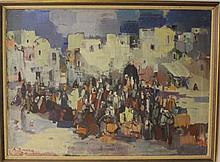 Avraham Binder (1906-2001), figures in a village