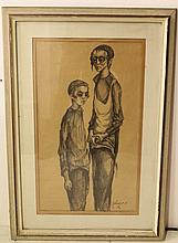 Moshe Bernstein (1920-2006), two children