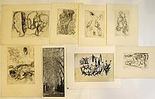Lot of seven prints and a painting by various artists