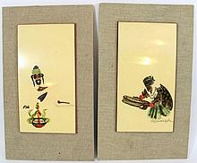 Pola Weizmann, lot of two paintings on wooden plaques