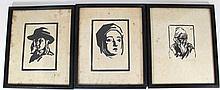 Lot of three woodcuts by Meir Gur-Arie (Israeli, 1891-1951)