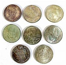 Lot of eight German silver coins