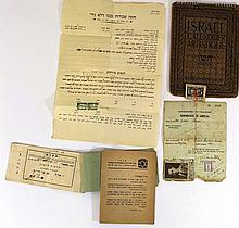 Lot of documents and various paper items, Eretz Israel and Israel