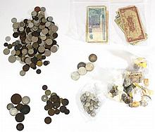 Lot of banknotes and coins
