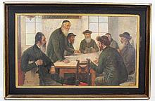 Unidentified artist, Jewish men studying