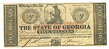 Civil War Era $5 Bill - 1862 Georgia Currency - Confederate States of America