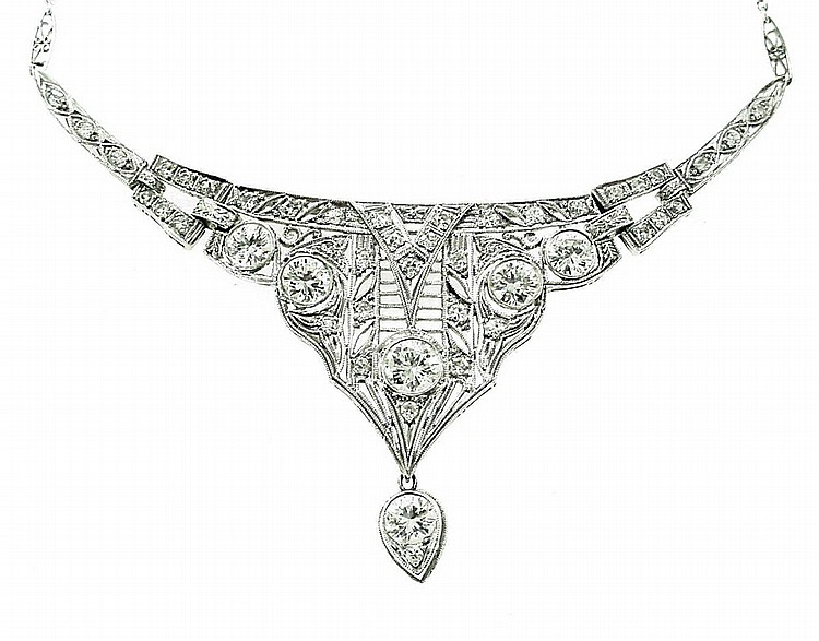 Estate Platinum Diamond Deco Necklace