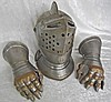 (3pc) 20th C. Armor Grouping, Great Helm and Gauntlets