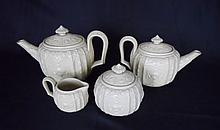 Four Piece Salt Glazed Drabware Tea Set, 19th C.