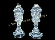 Pair of Sandwich Glass Whale Oil Lamps, 19th C.