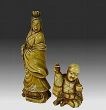 Two Japanese Carved Okimono Figures, 19th C.