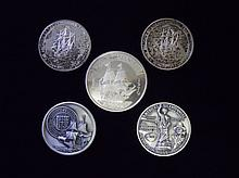 Collection of Five Sterling Silver Medals