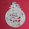 Hand Carved Natural Jade Bi Disk Single Pixiu Amulet/Pendant -5 Inches