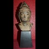 Cast Iron Guan Yin / Kwan-Yin BUDDHA HEAD on wood block-VINTAGE