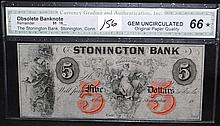 $5 STONINGTON BANK OBSOLUTE BANKNOTE