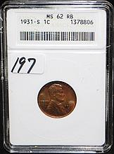 1931-S LINCOLN CENT - ANACS MS62 RB