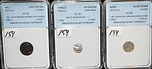 THREE GRADED ANCIENT COINS