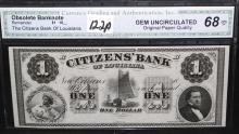 1 CITIZENS BANK OF LOUISIANA - CGA GEM UNCIRCULATED 68 - OBSOLETE BANK NOTE