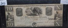$10 BANK NOTE - THE MECHANICS BANK OF GEORGIA - OCT. 1,1861 - CIVIL WAR ERA