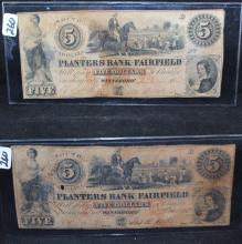TWO $5 BANK NOTES - PLANTERS BANK OF FAIRFIELD - SOUTH CAROLINA - DATED 1833