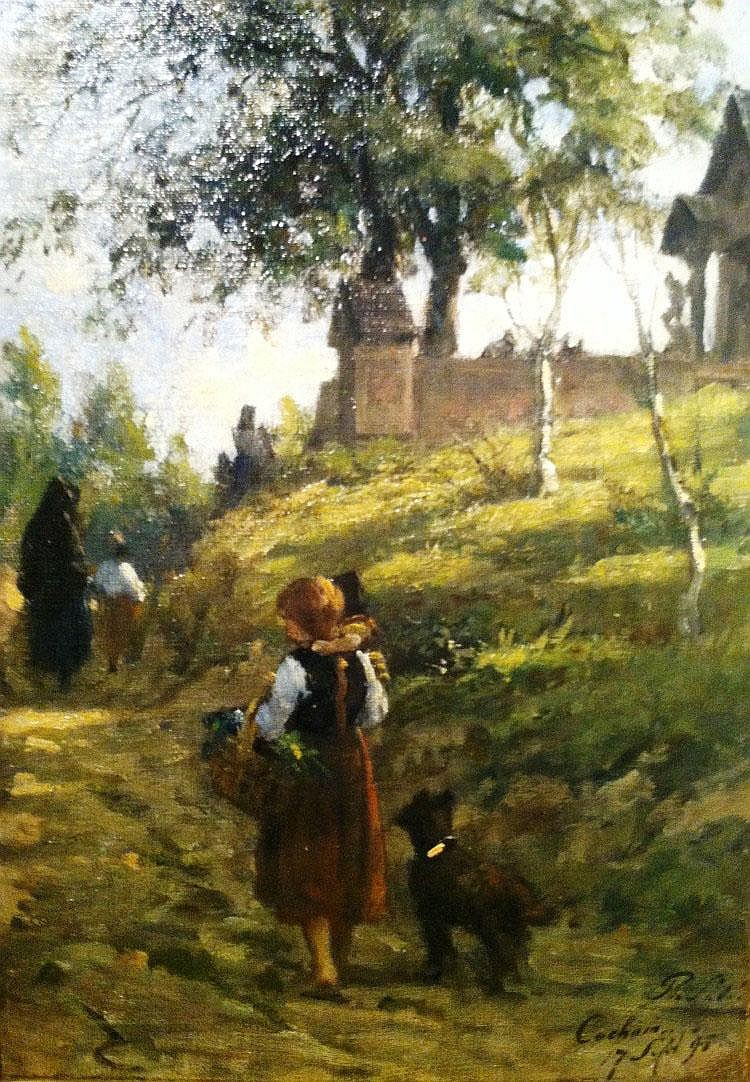Philip Sadee (1837 - 1904), Going to church, Cochem, Germany