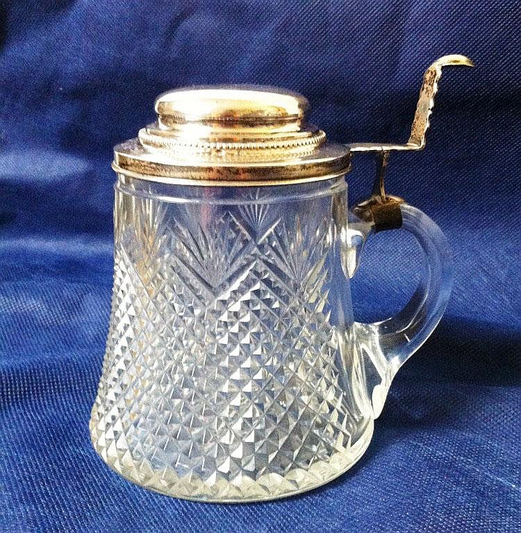 Beer mug, crystall and silver