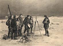 Bender, Paul James Roß entdeckt den magnetischen Nordpol am 1. Juni 1831. Aquarellierte s/w-Tuschezeichnung über Bleistift auf grauem Karton. 1896. Auf festen Unterlagekarton montiert. Maße 32 x 43,5 cm.