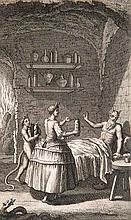 Porée, Charles Gabriel Hitoire de Don Ranucio d'Aletez. Histoire veritable. 2 Bde. Mit 2 gest. Frontispiz., 2 gest. (wdh.) Titelvign. u. 1 Kupfertafel. Venedig, Asquinetti, 1738. 342 S., 1 Bl., XV, 308 S., 2 Bll. Kl.-8°. HLdrbde. d. Zt. mit reicher