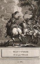 (Le Tourneur, Guyot) Histoire d'Angleterre, Représentée par figures. Accompagnées d'un précis Historique dé diée ... 2 Bde. Mit 2 gestoch. Titelbl. (1784) u. 96 ganzs. Kupferstich-Taf. Paris, chez M. David, 1786. Kl. 4°. 1 weißes Bl., 4 nn. Bll., 187