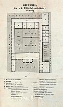 Hanslik, Joseph A Geschichte und Beschreibung der Prager Universitätsbibliothek. Mit 1 gefalt. Grundriss. Prag, Rohlicek, 1851. 3 Bll., 633 S. Lwd. d. Zt. (etwas fleckig u. lichtrandig).