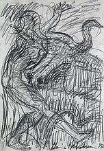 Höckelmann, Antonius  Europa mit dem Stier. 1997. Graphitstift auf dickem Papier. 50 x 35 cm. Signiert und datiert. - Etwas knickspurig, am rechten Rand mit kurzem Einriss. Am oberen Rand mit drei kleinen Löchlein.