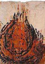 Seidel, Frank  o.T. (Flammen). 1987. Tusche und Beize auf Pergament. 76,5 x 54,5 cm. Signiert und datiert