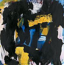 Heinig, Ilja  Abstrakte Kompositionen. 2 Arbeiten. 1990. Acryl und Collage auf Papier. Je 35 x 34,5 cm. Je zweifach signiert und datiert. Je im Passepartout freigestellt und unter Glas gerahmt.
