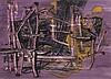 Brenneis, Jo Abstrakte Struktur in Violett und Ockergelb. (1950). Gouache auf Schoellershammer-Durex-Karton (Blindstempel). 45 x 62,5 cm. Signiert