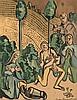 Bernard, Emile L'adoration des bergers. Farbholzschnitt auf Velin. 29 x 22,5 cm (50,5 x 38 cm). Signiert, datiert und nummeriert sowie in der Platte signiert u. datiert. - Papier altersbedingt gebräunt u. minimal angeschmutzt.