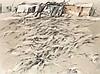 Böttcher, Rolf Küste. 1980. Kreide und Aquarell über Bleistift auf hellgrauem Bütten. 38 x 53 cm. Signiert u. datiert. - Unter Passepartout. Ecken mit kl. Fehlstellen, im Passepartoutausschnitt schwach lichtrandig, recto u. verso teils mit