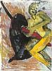 Bach, Elvira o.T. (Gelbe Frau auf einer Anthurie). 1987. Gouache auf Bütten. 78 x 104 cm. Signiert und datiert. - Auf dem Unterlagekarton punktuell montiert. Im Passepartout freigestellt und unter Glas gerahmt. Verso mit Atelierspuren versehen.