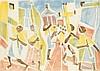 Bargheer, Eduard Corpus Domini. 1974. Farbaquatintaradierung auf Büttenkarton. 30 x 43 cm (47,5 x 56 cm). Signiert, datiert u. nummeriert sowie in der Platte signiert u. datiert. Mit dem Trockenstempel der Edition