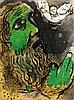 Chagall, Marc Der betende Hiob. Farblithographie auf Velin. 35,3 x 26 cm. Verso mit Bleistift nummeriert. - Unter Passepartout montiert.