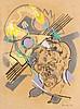 Bunk, Holger Selbst mit Blumen. 1981. Farbkreiden auf chamoisfarbenem Papier. 40,4 x 30 cm. Signiert u. datiert. - Punktuell auf Unterlageblatt befestigt u. unter Glas gerahmt. Der linke Blattrand mit schwachen Lagerspuren versehen.