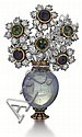 Buccellati, 18kt Yellow, White Gold, Sapphire, Emerald and Diamond Flower Pin, L.2 1/4