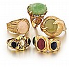 14kt Yellow Gold and Gemstone Lady's Rings, 5pc