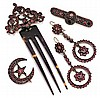 Bohemian Garnet Jewelry Suite, 5pc