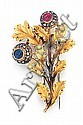 Buccellati, Antique18kt Yellow Gold, Ruby and Blue SapphireThistle Pin, L.1 12