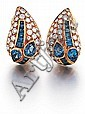 Tiffany & Co., Blue Sapphire and Diamond Lady's Earrings, Pair