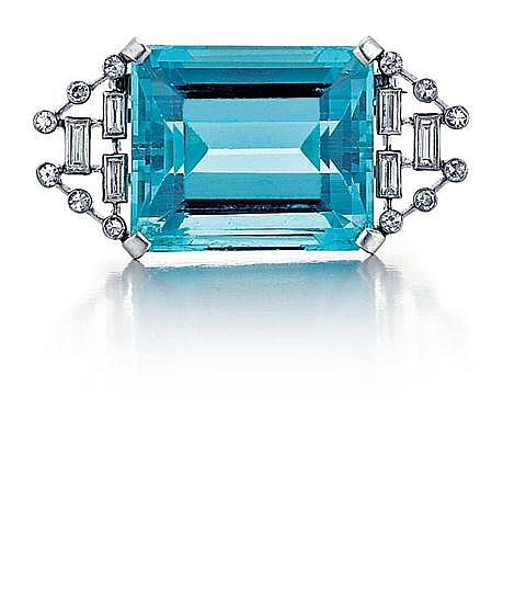 Platinum, Aquamarine and Diamond Pin, Approx. C.1930.