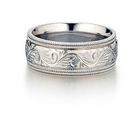 14kt White Gold Engraved Wide Band Ring
