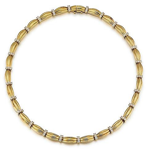 Tiffany & Co., 18kt Yellow Gold and Diamond Lady's Necklace, L. 16.5